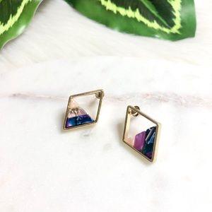 Purple & Gold Geo Acrylic Earrings
